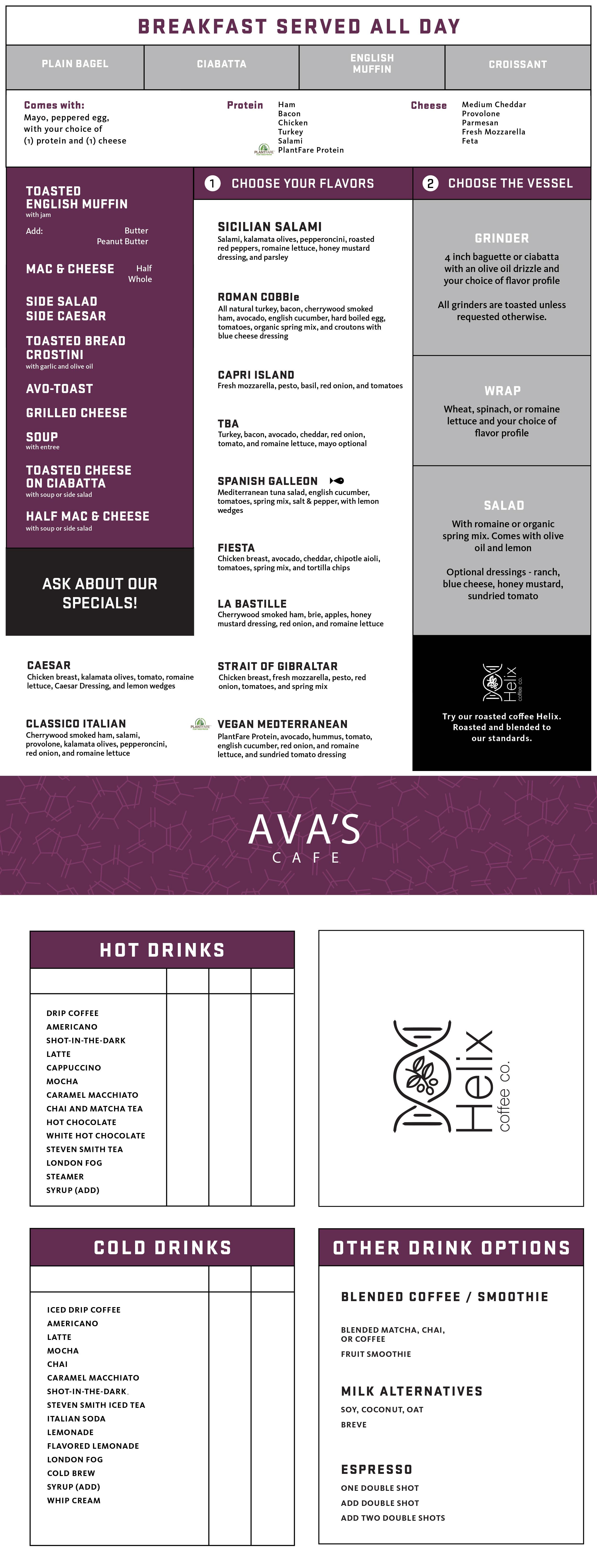 avas menu