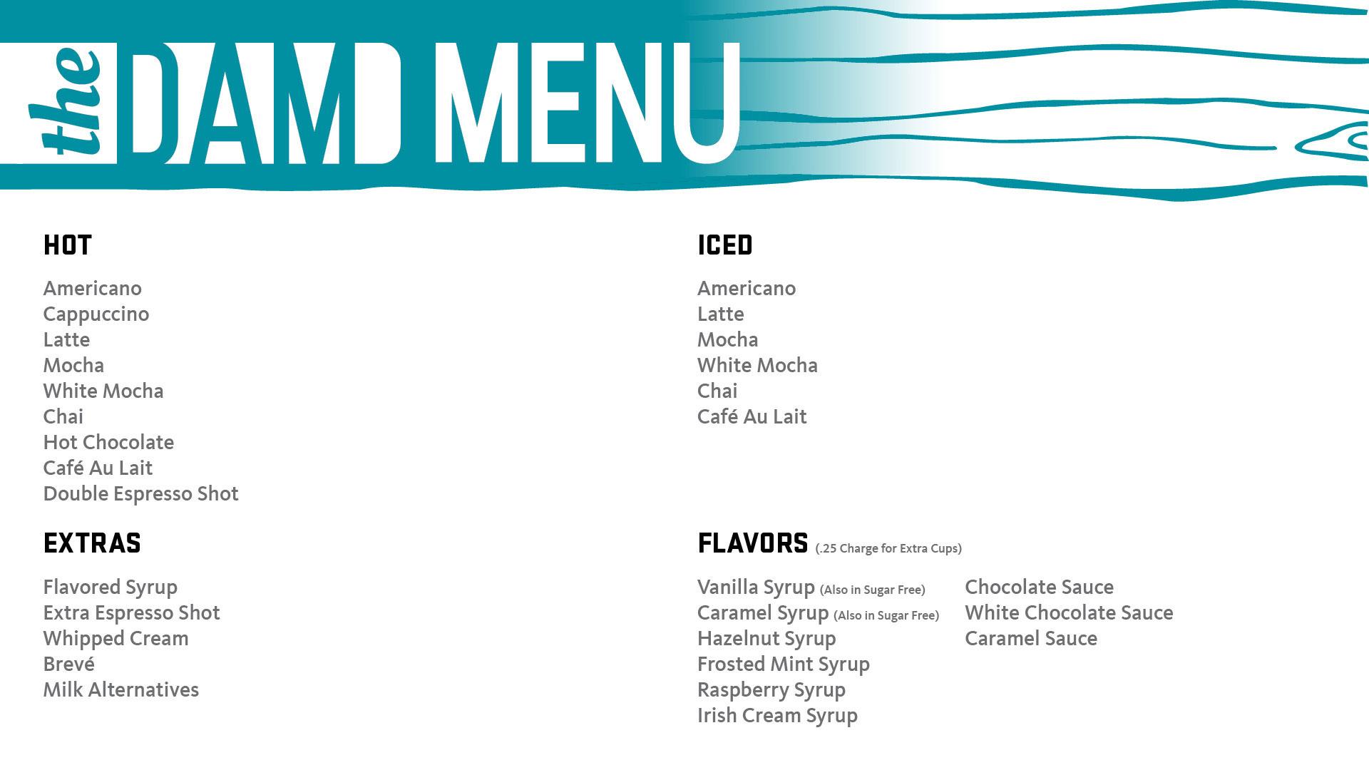 the dam menu