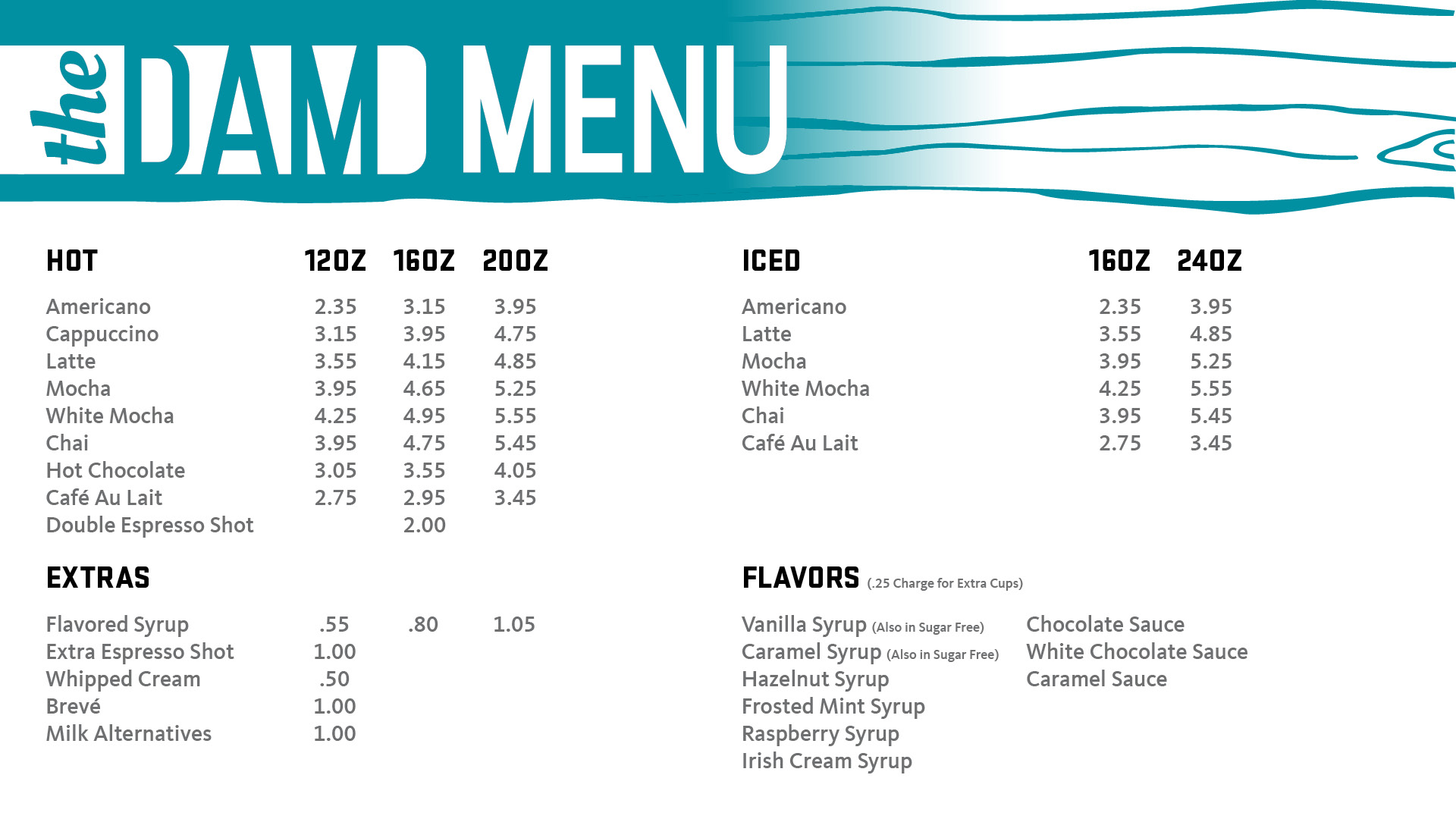 The Dam beverages menu. Click for pdf version.