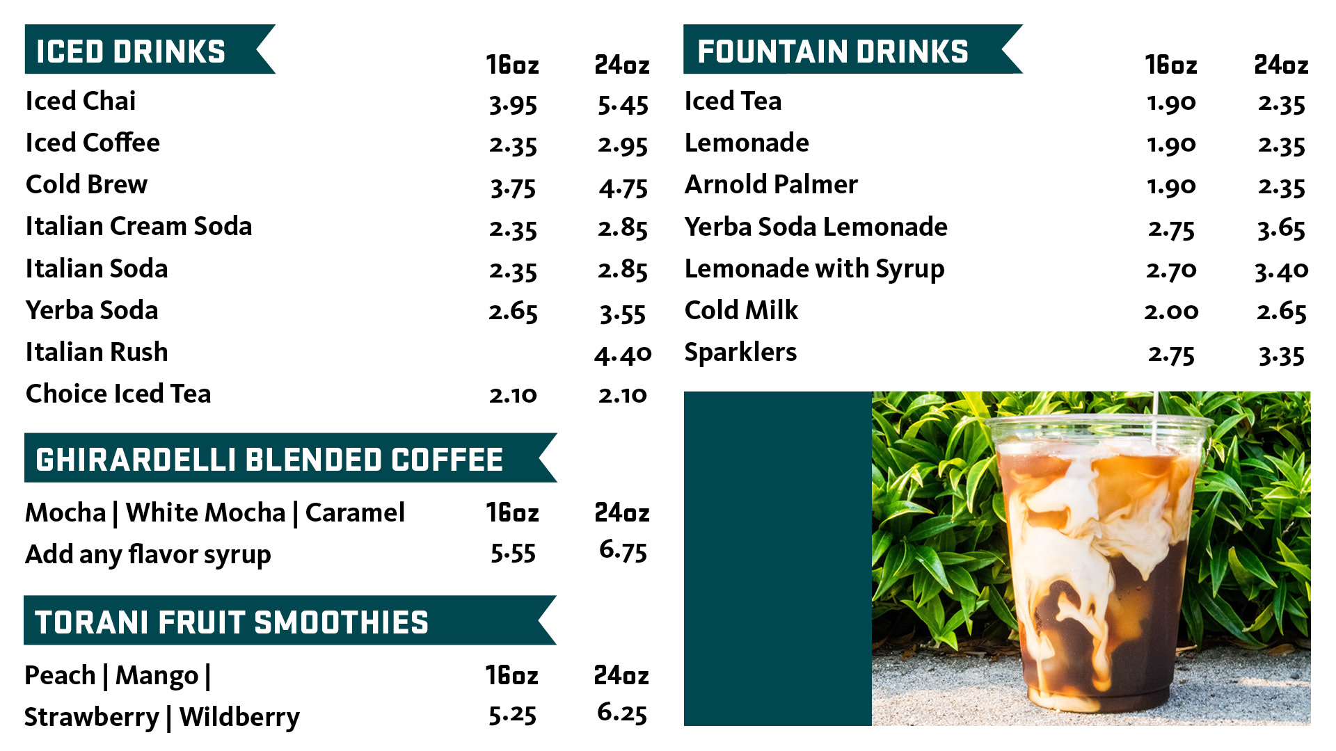 Java II iced beverages. Click for pdf version.